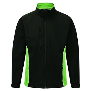 Image of Silverstone two-tone softshell jacket, Black/Lime, P-C124280