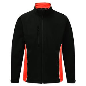 Image of Silverstone two-tone softshell jacket, Black/Orange, P-C124280