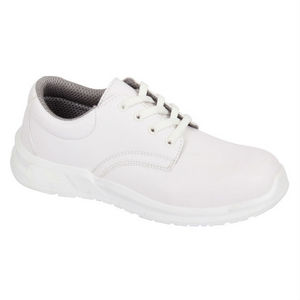 Image of Microfibre hygiene lace-up shoe, white, P-B134190