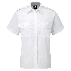 Image of Ladies short sleeve pilot shirt White P-C06JC2064
