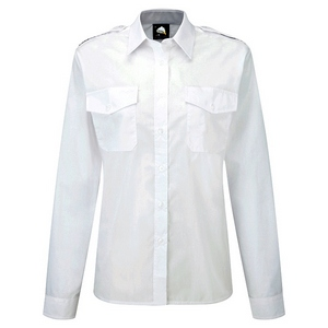 Image of Ladies long sleeve pilot shirt White P-C06JC2065