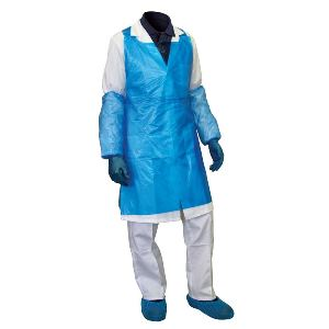 Image of Polythene aprons flat packed Blue P-C108579