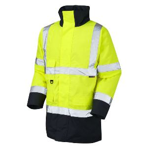Image of 2-tone hi-vis traffic jacket Orange/Navy P-C15SHV22