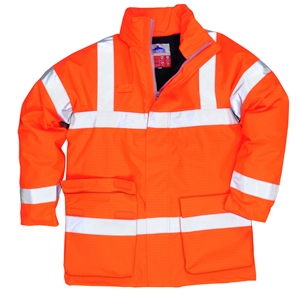 Image of Hi-vis flame-retardent anti-static breathable jacket, orange, P-C15SHV79